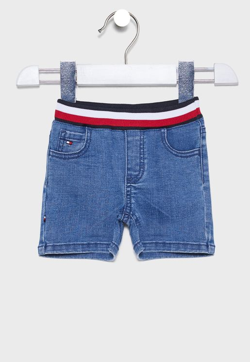 Infant Logo Stripe Waistband Denim Shorts