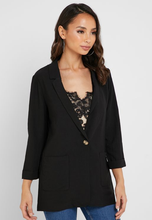Button Detail Longline Blazer
