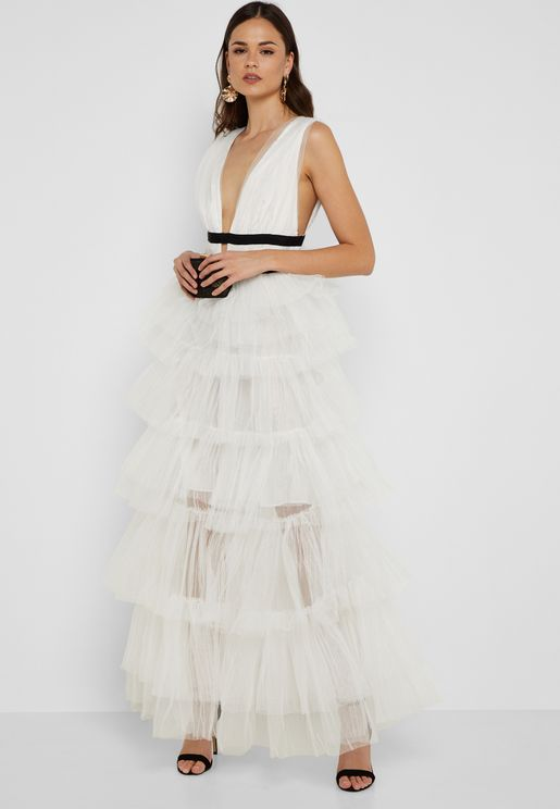 Plunge Neck Tulle Overlay Dress