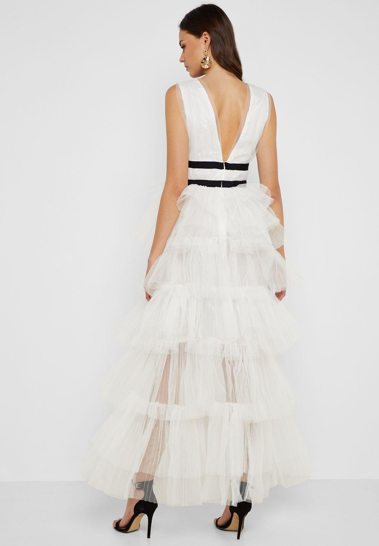Plunge Neck Tulle Overlay Dress