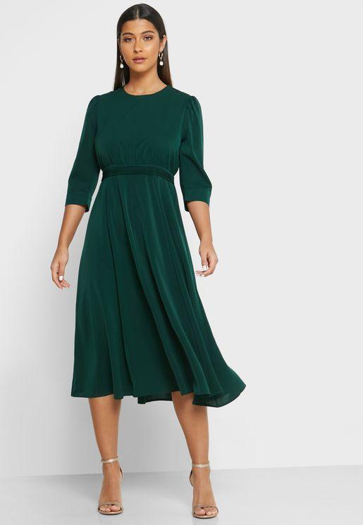 Puffed Sleeve Midi Dress