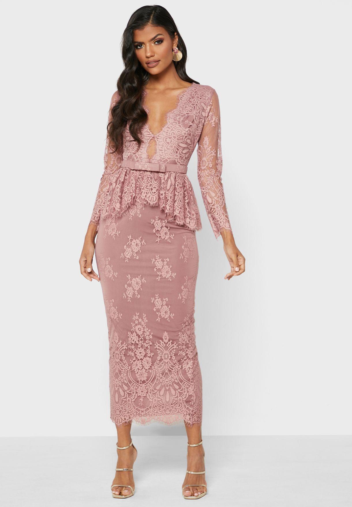 Belted Peplum Dress