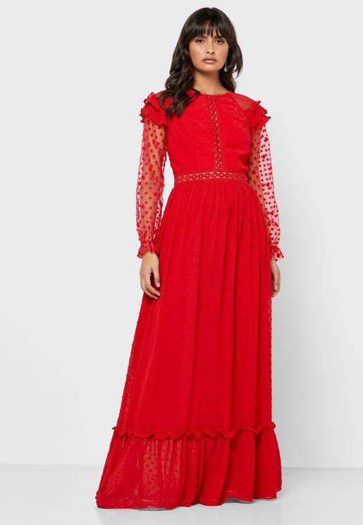 Mesh Detail Ruffle Sleeve Dress