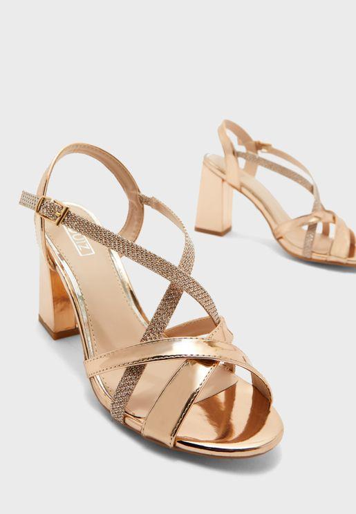 Buckle Detail Block Heel Sandal