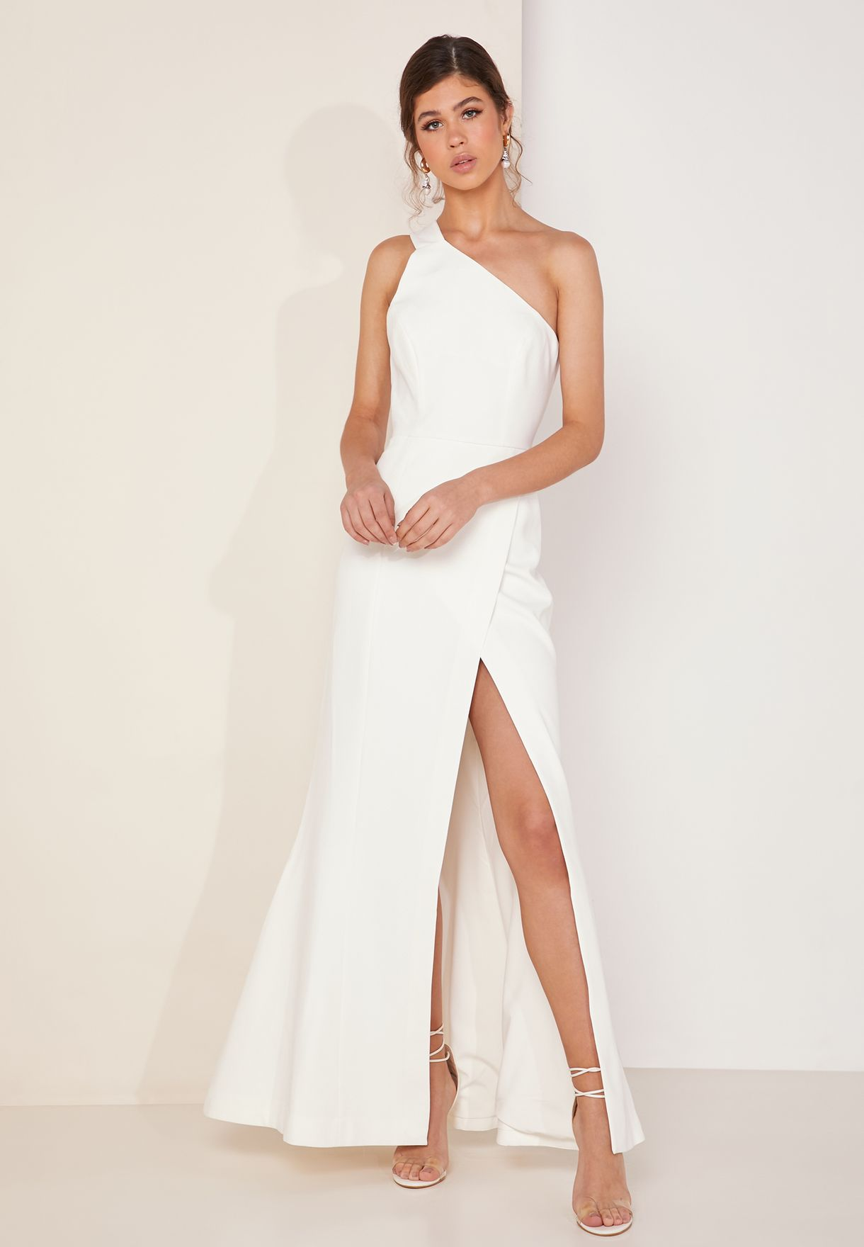 Pursue One Shoulder Side Split Maxi Dress