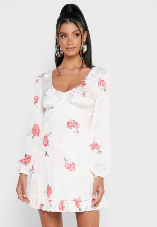 Floral Frill Detail Swing Mini Dress