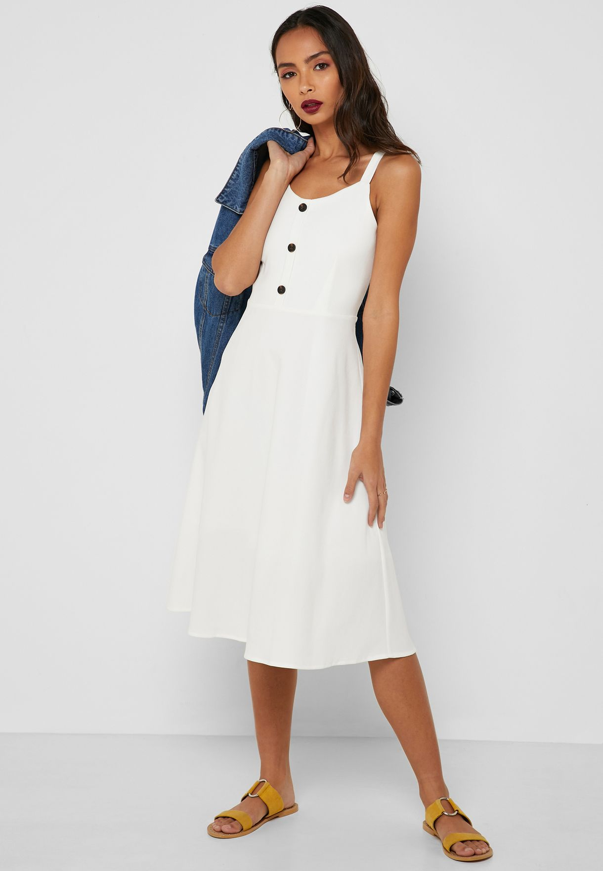 Button Front Fit & Flare Midi Dress
