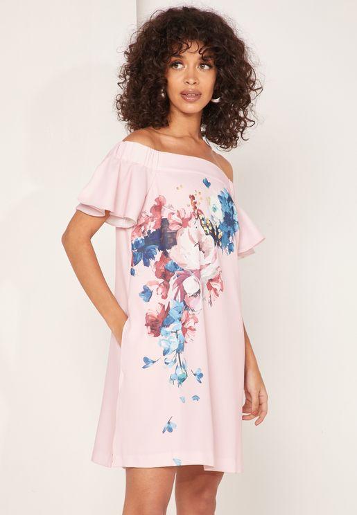 فستان مطبع مكشوف الاكتاف