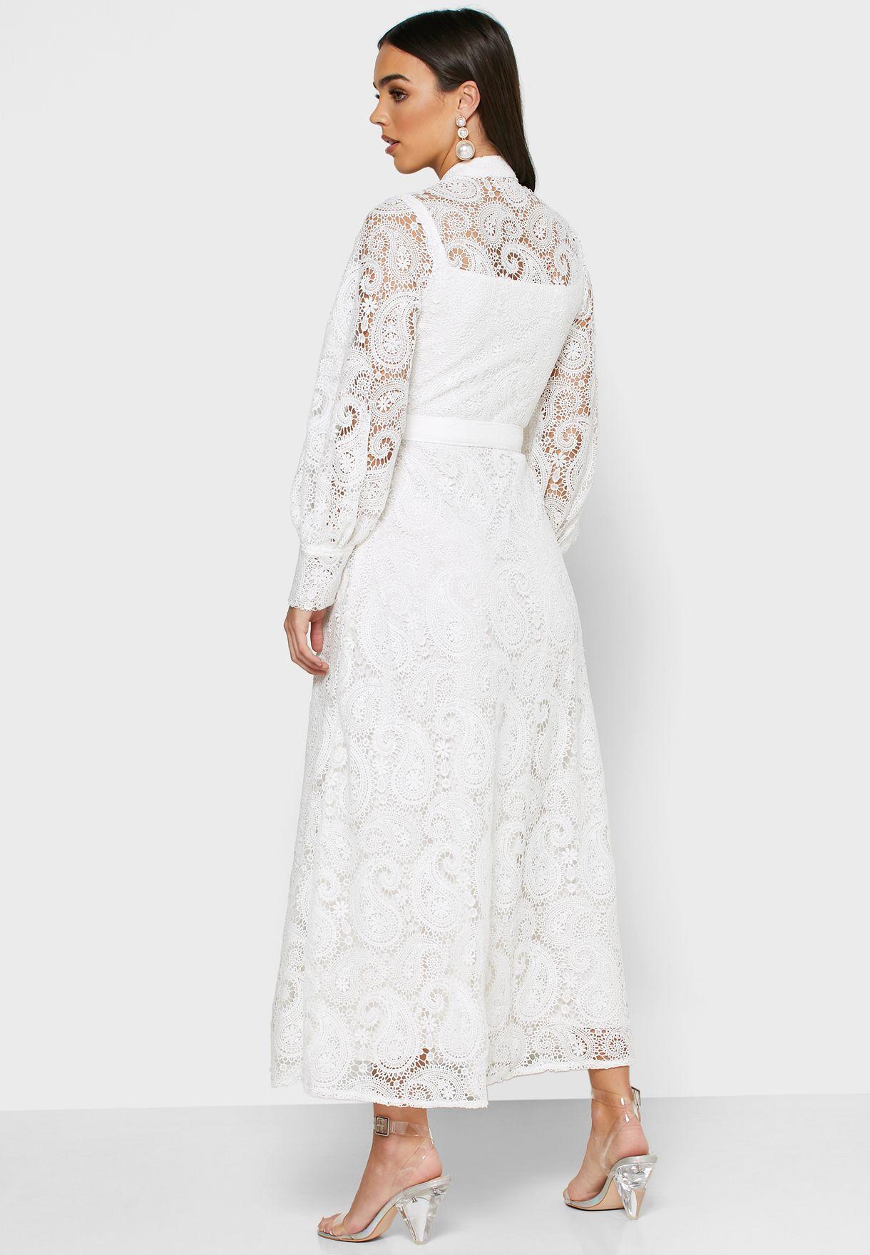 Button Through Lace Dress