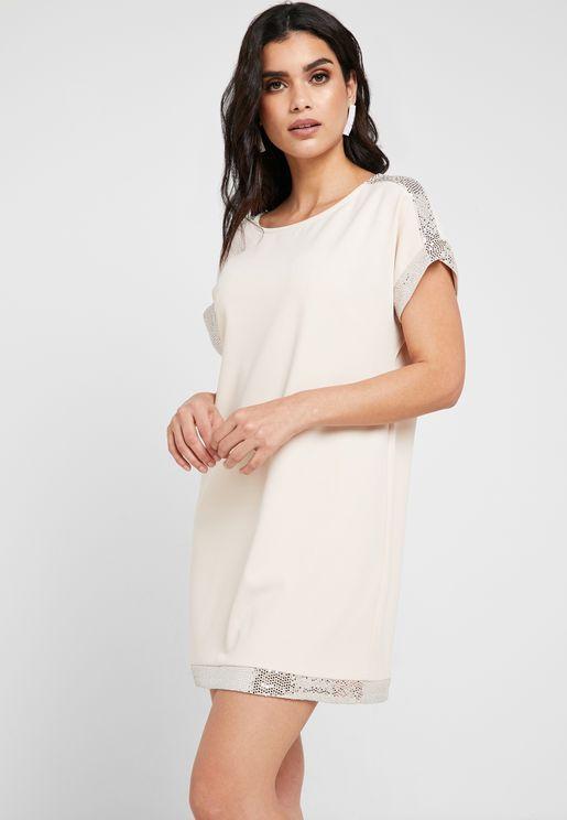 Shimmer Trim Dress