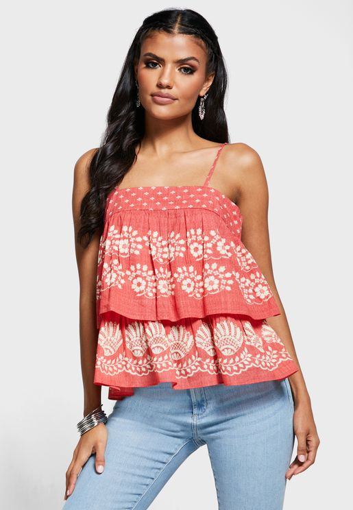 Layered Printed Cami Top