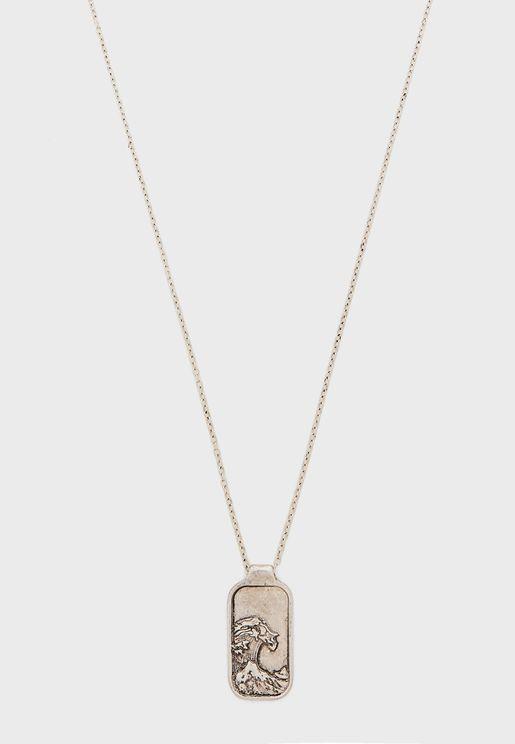 Engraved Wave Pendant Necklace