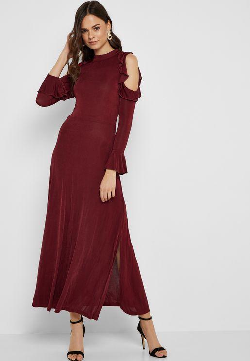 Cold Shoulder Ruffle Detail Dress