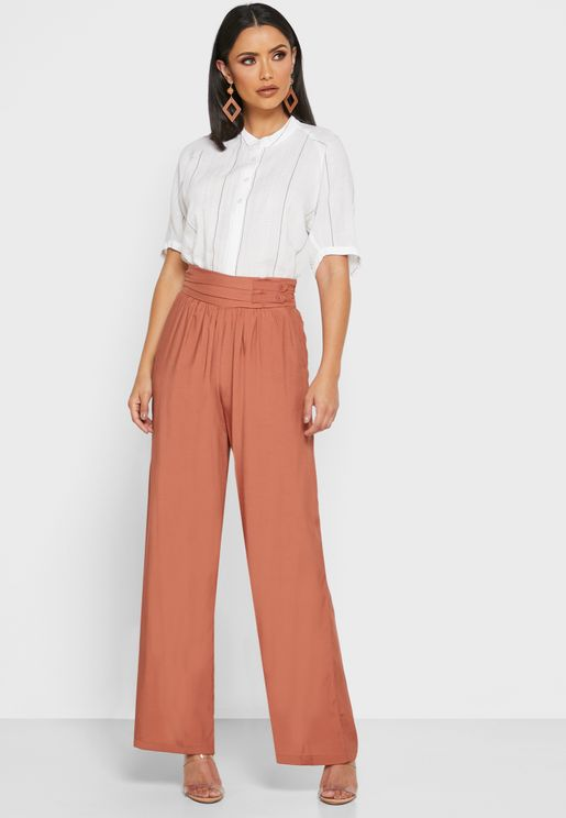 Ruched Detailed Wide Leg Pants