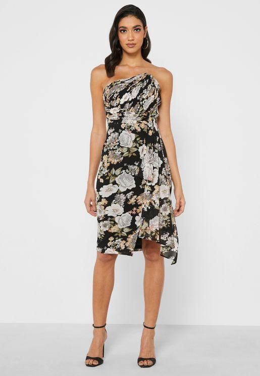 Pleated Asymmetric Bandeau Dress