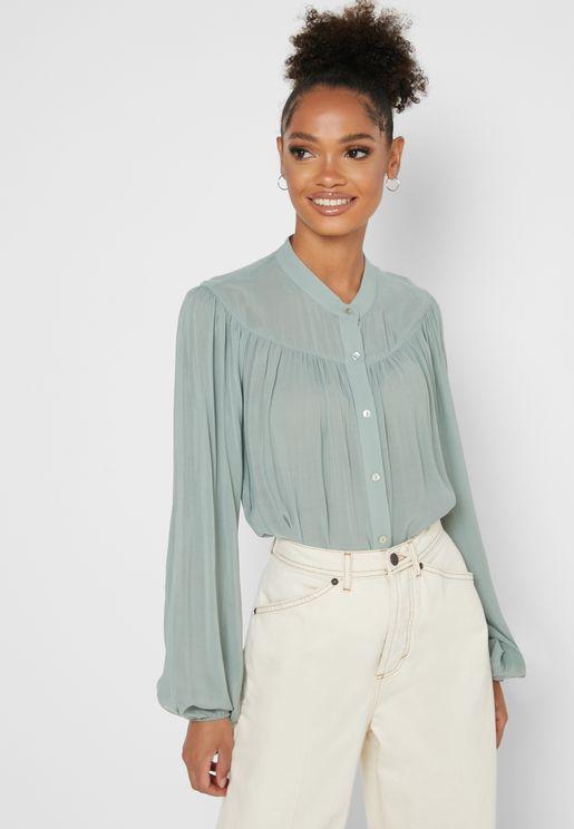 Sheer Button Down Shirt