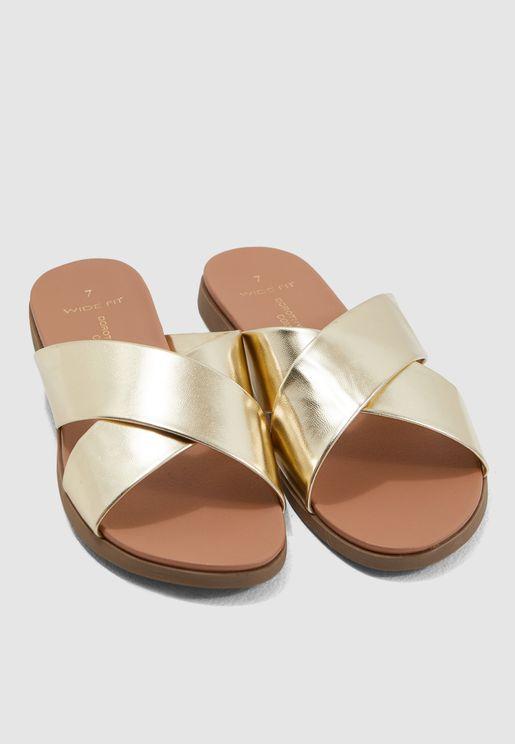 2e80f54444e Wide Fit Flat Frey Sandal - Metallic