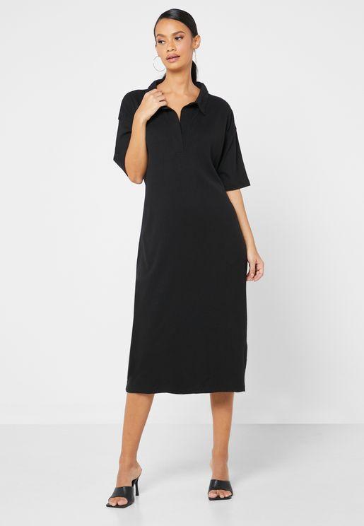 Collar T-shirt Midi Dress