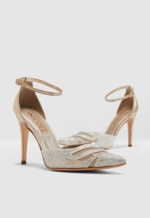 Larissa Ankle Strap Pump - White
