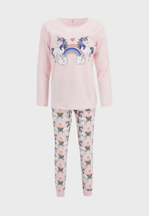 Kids Unicorn Print Pyjama Set
