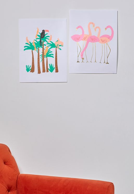 Flamingo Set of 2 Art Prints