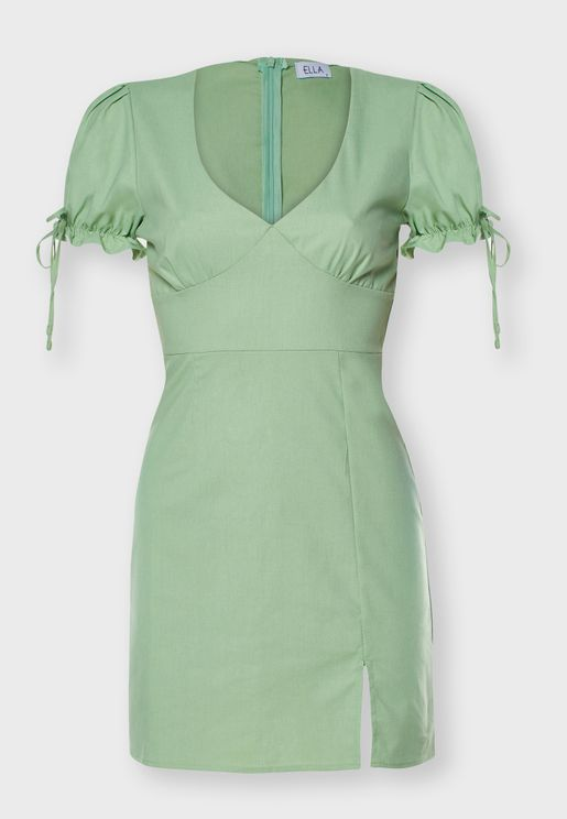 Tie Sleeve Mini Dress
