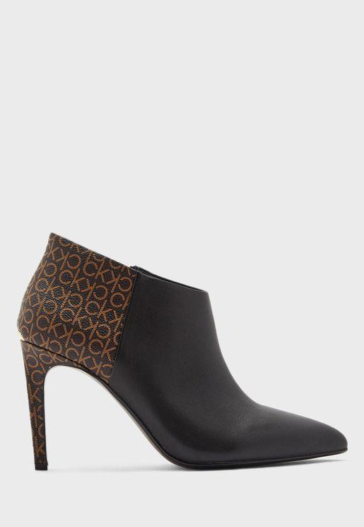حذاء جلد اصلي كعب عالي