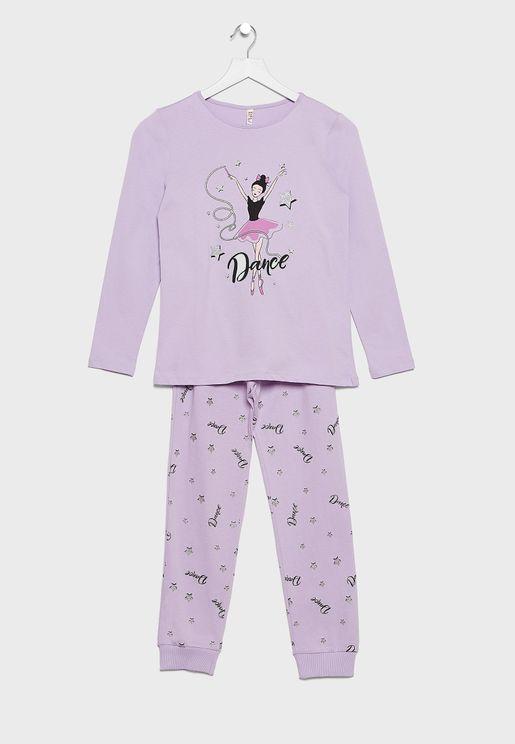 Kids Graphic T-Shirt + Printed Pyjama Set