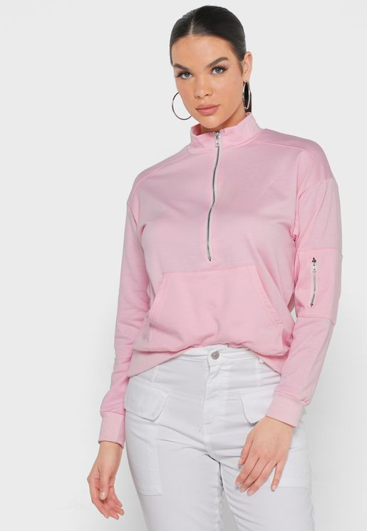 High Neck Pocket Sweatshirt
