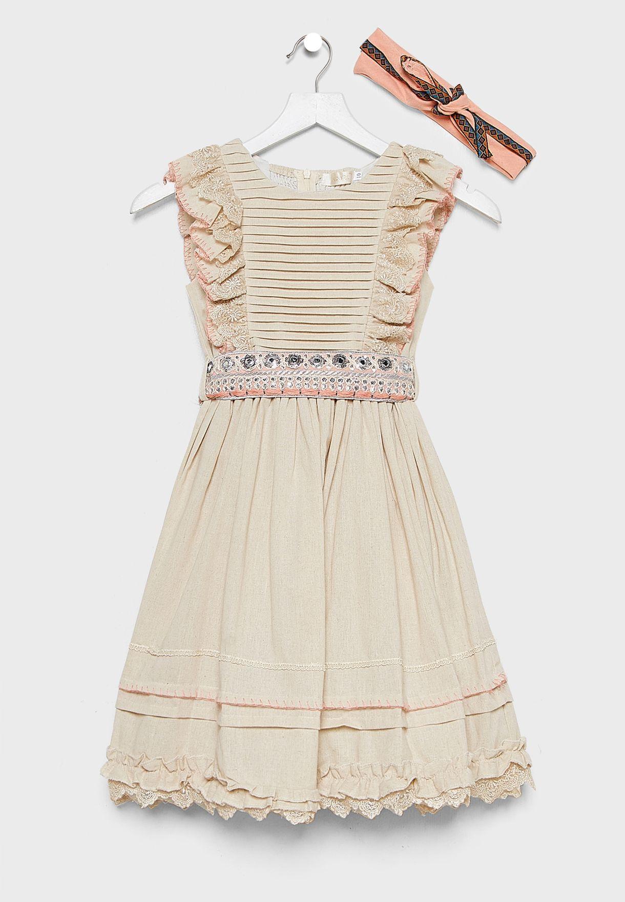 Kids Ruffle Sleeve Dress