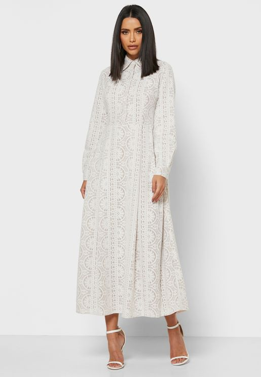 Lace Shirt Midi Dress