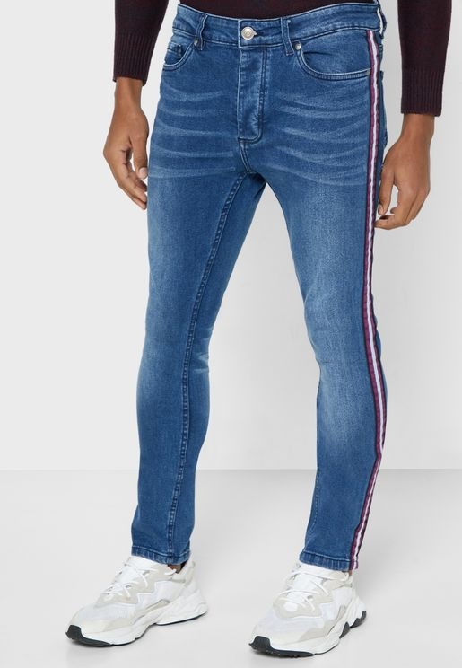 Skinny Fit Denim Side Tape Jeans