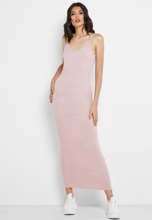 Ribbed Low Back Cami Maxi Dress