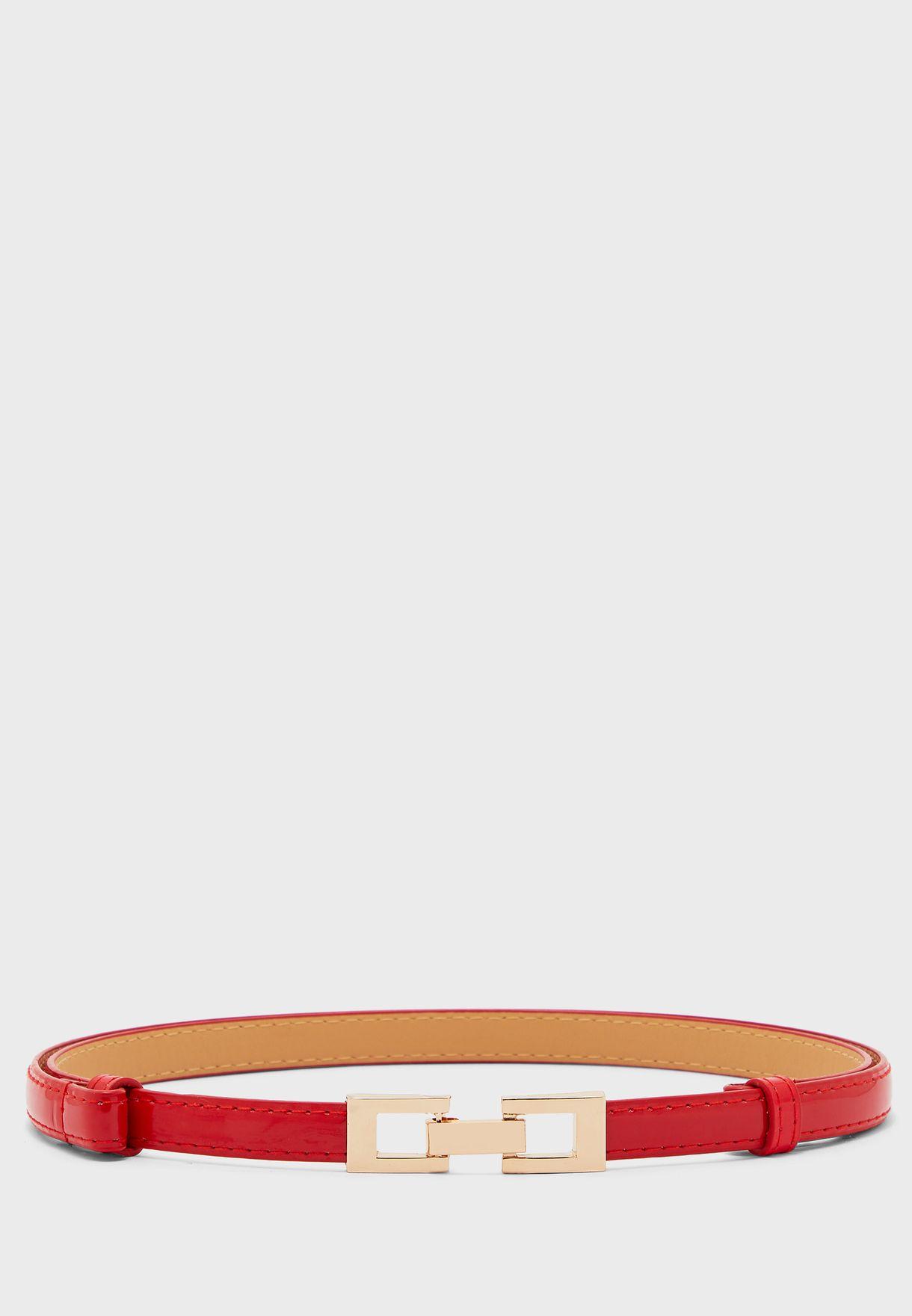 Mini Rectangle Buckle Skinny Belt
