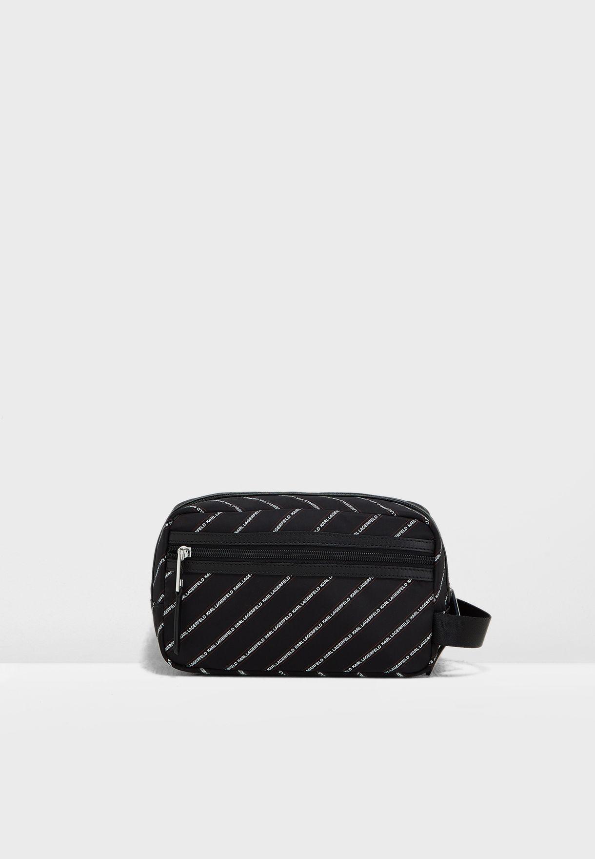 Stripe Logo Nylon Washbag
