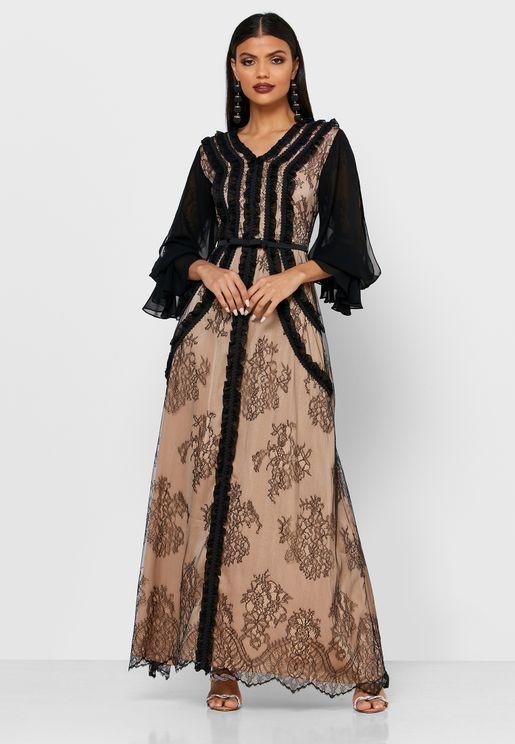 V-Neck Lace Detail Dress