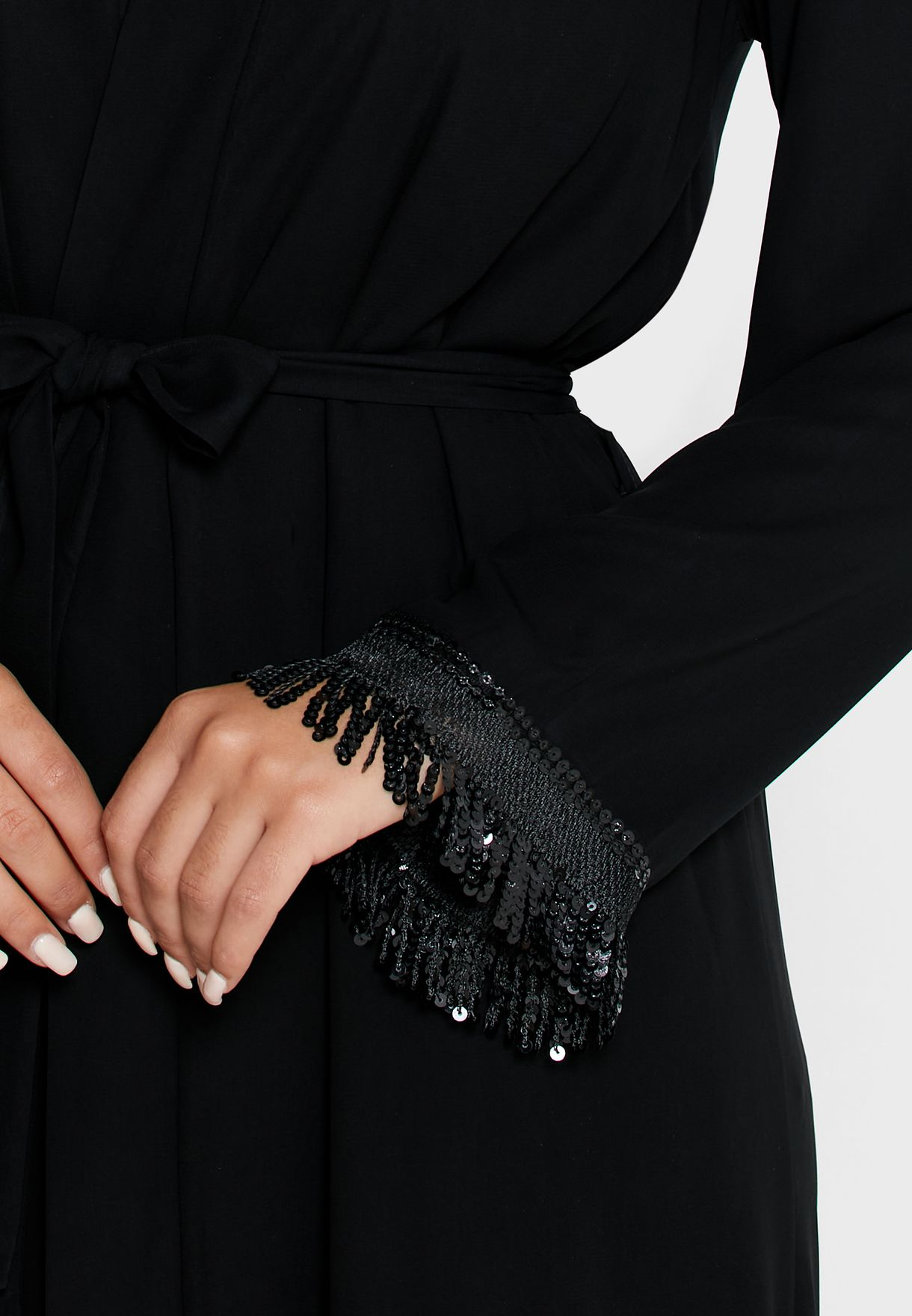 Sequin Fringed Hem Self Tie Abaya