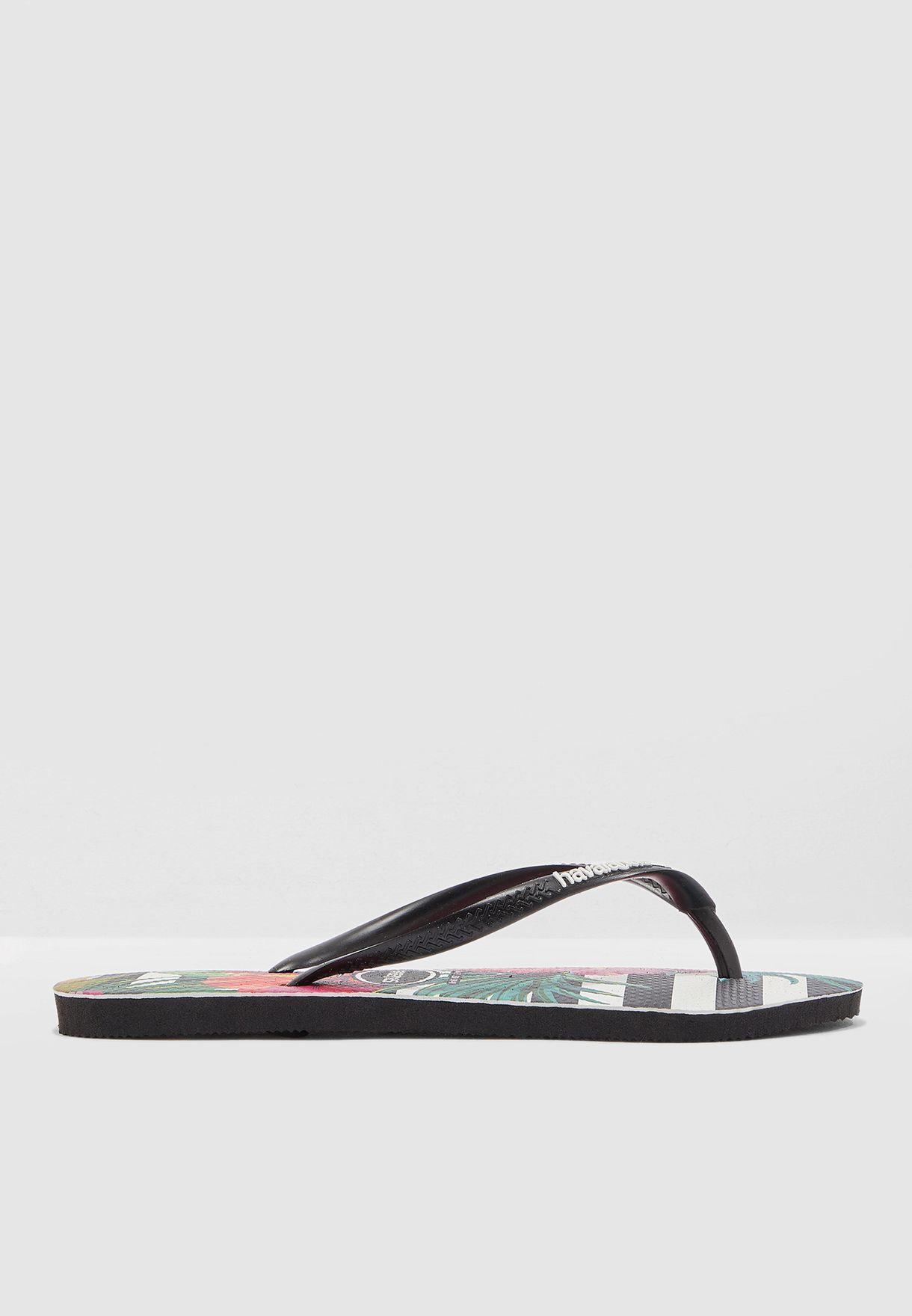 Slim Strap Tropical Floral Flip Flops