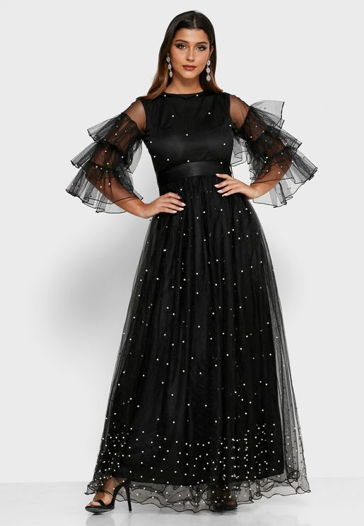 فستان مكسي بطبقة من الشبك