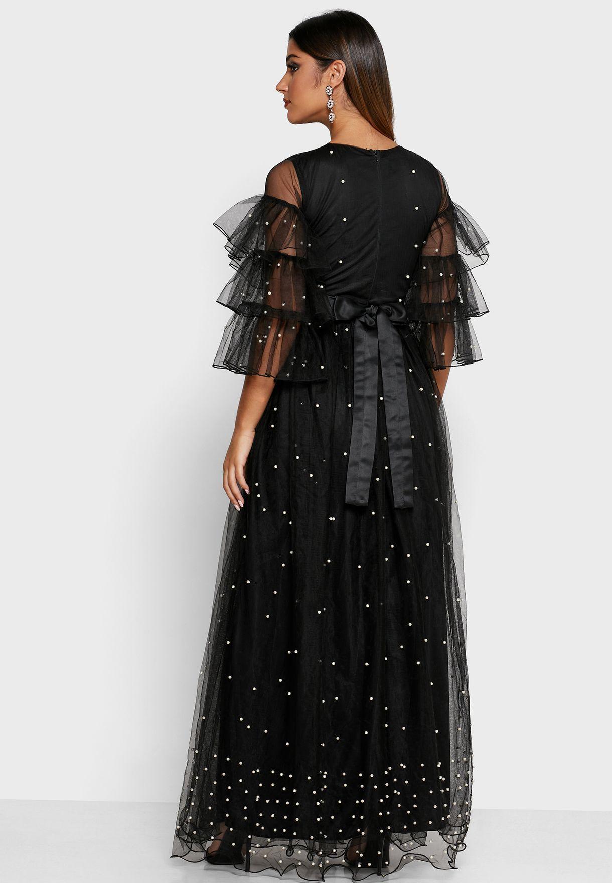 Embellished Mesh Overlay Maxi Dress