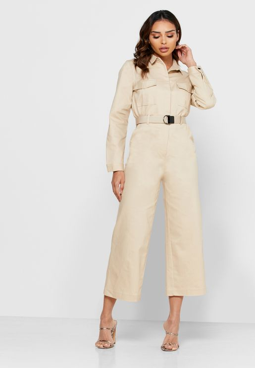 Pocket Detail Belted Shirt Jumpsuit
