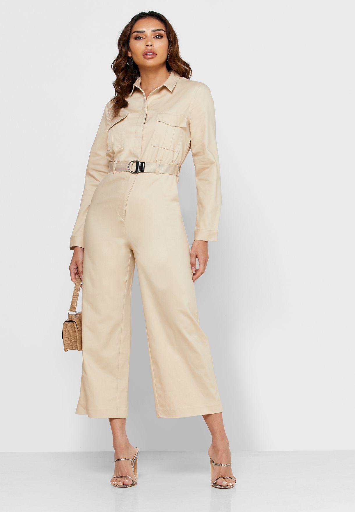 Pocket Detail Belted Shirt Jumpsuit