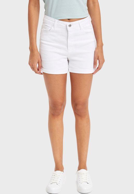 Roll Hem Mini Shorts
