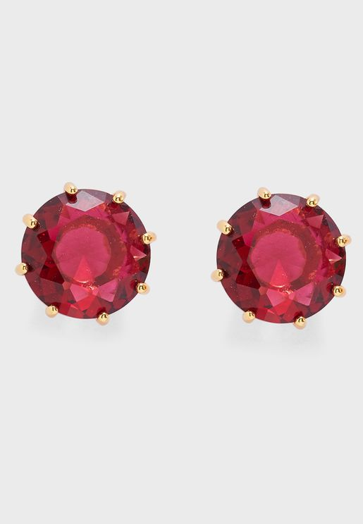 Earrings With Small Round Garnet Stone