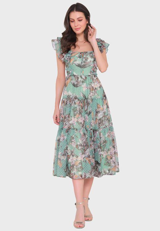 Square Floral Print Dress