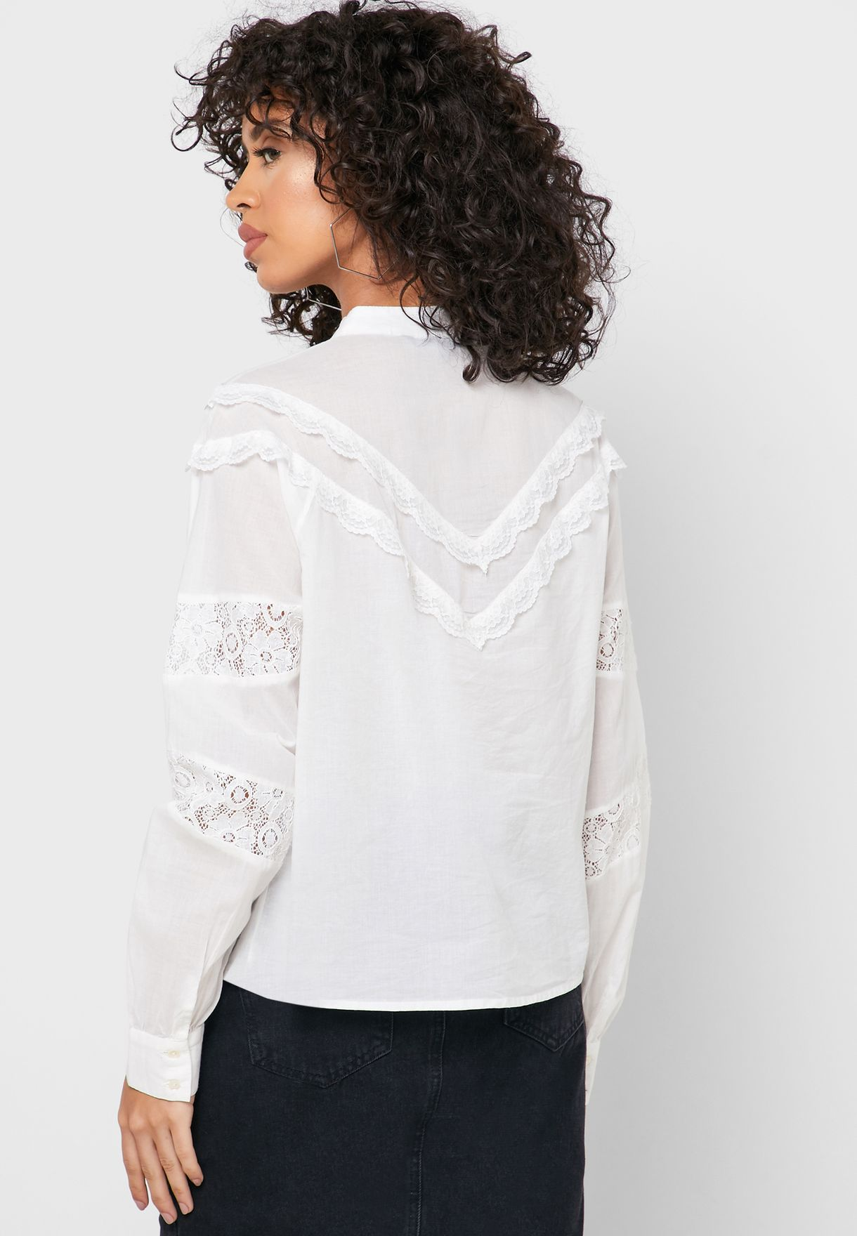 Lace Detail Button Down Shirt