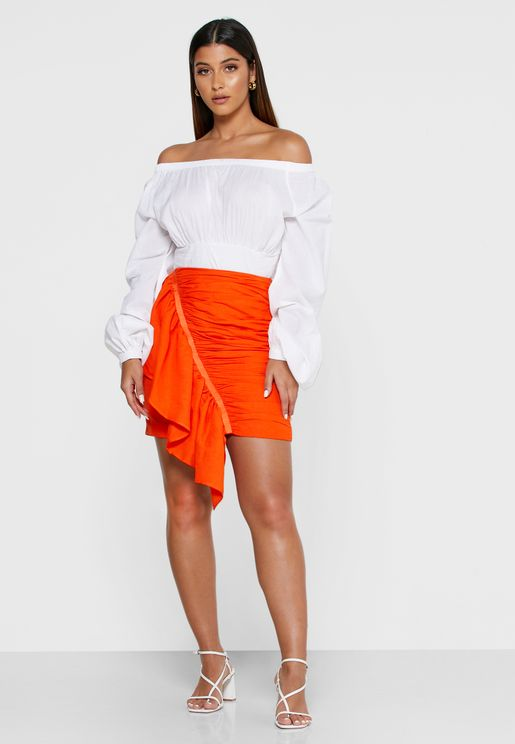Early On Ruched Bodycon Mini Skirt