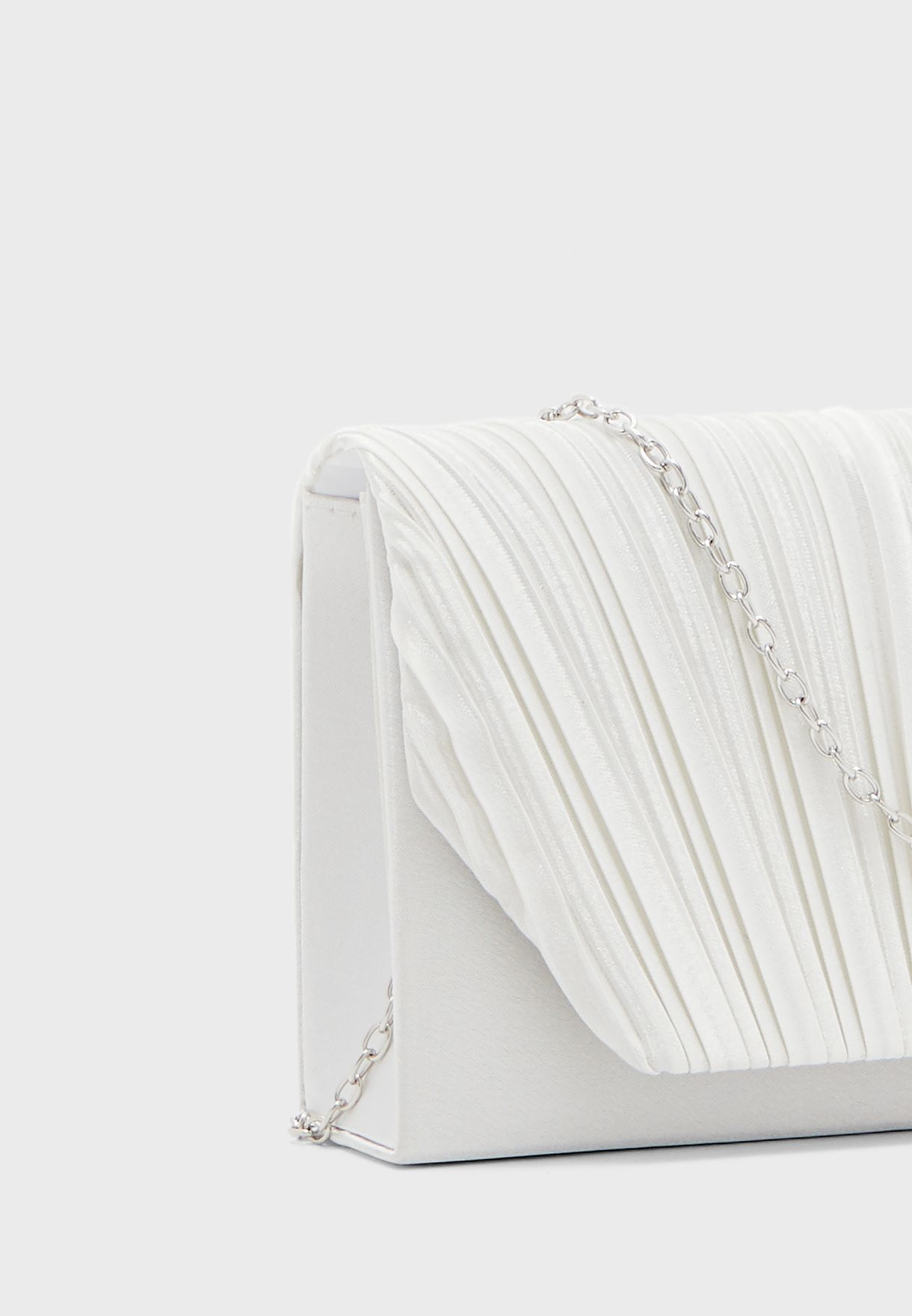 Pleated Satin Clutch Bag