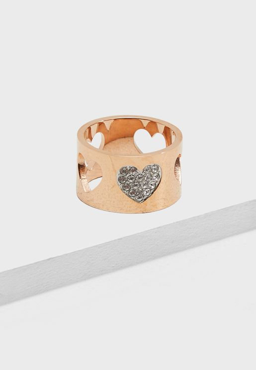R-Cut & Pave Hearts Ring