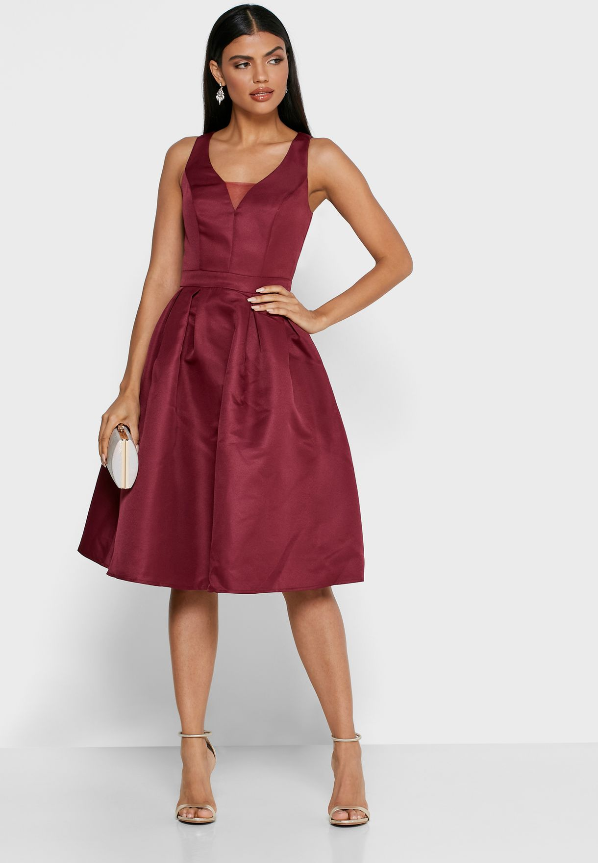 Buy Chi Chi London Red Plunge Illusion Pleated Ball Dress For Women In Mena Worldwide 7463bur
